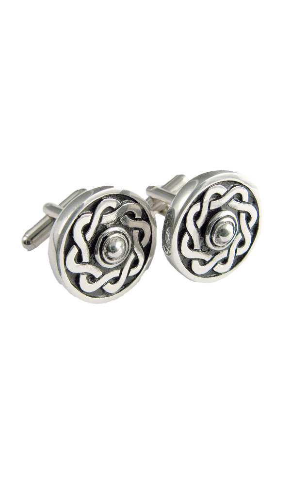Celtic Shield Polished Cufflinks