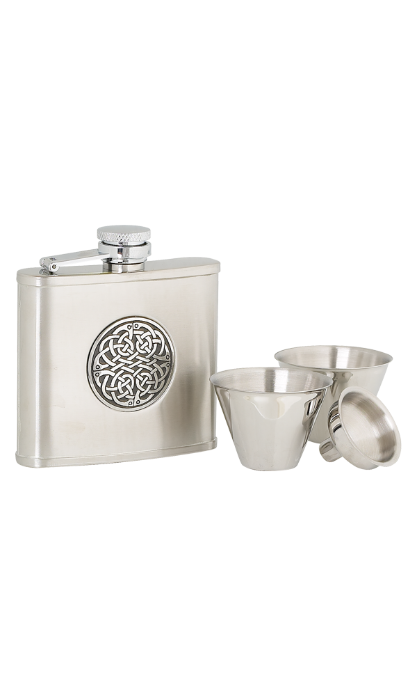 4oz Celtic Weave Stainless Steel Flask Set