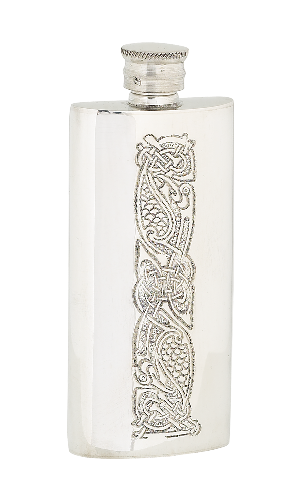 4oz Slim Celtic Pewter Flask