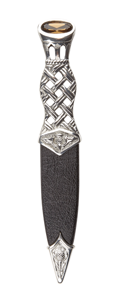 Lochy Polished Pewter Dress Sgian Dubh With Stone Top