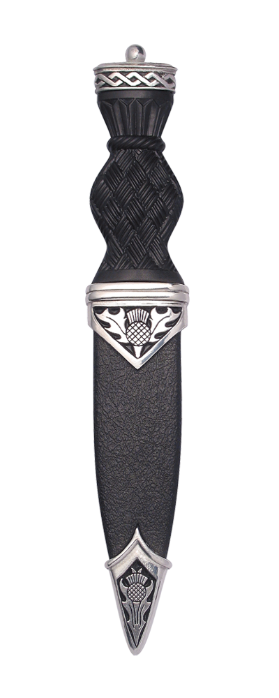 Thistle Polished Sgian Dubh With Plain Top