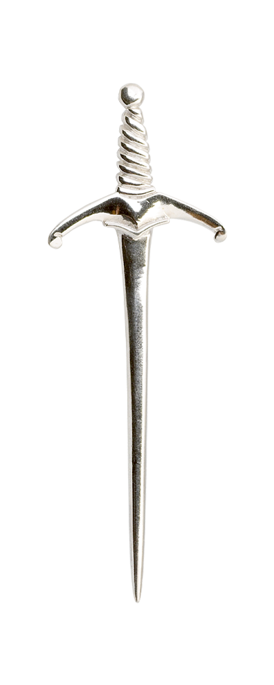 Twisted Sword Silver Kilt Pin