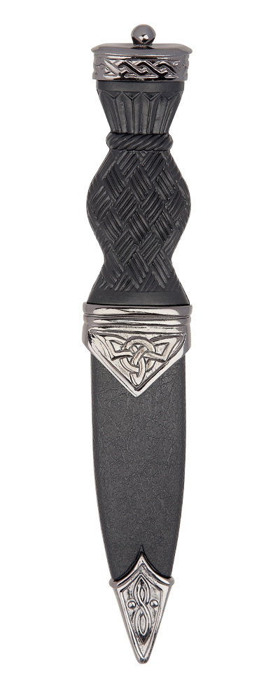 Black Chrome Celtic Sgian Dubh With Plain Top