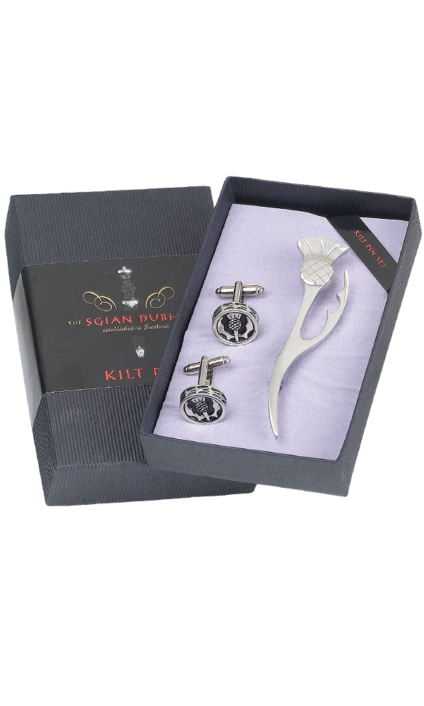 Thistle Leaf Kilt Pin & Cufflink Set Thumbnail
