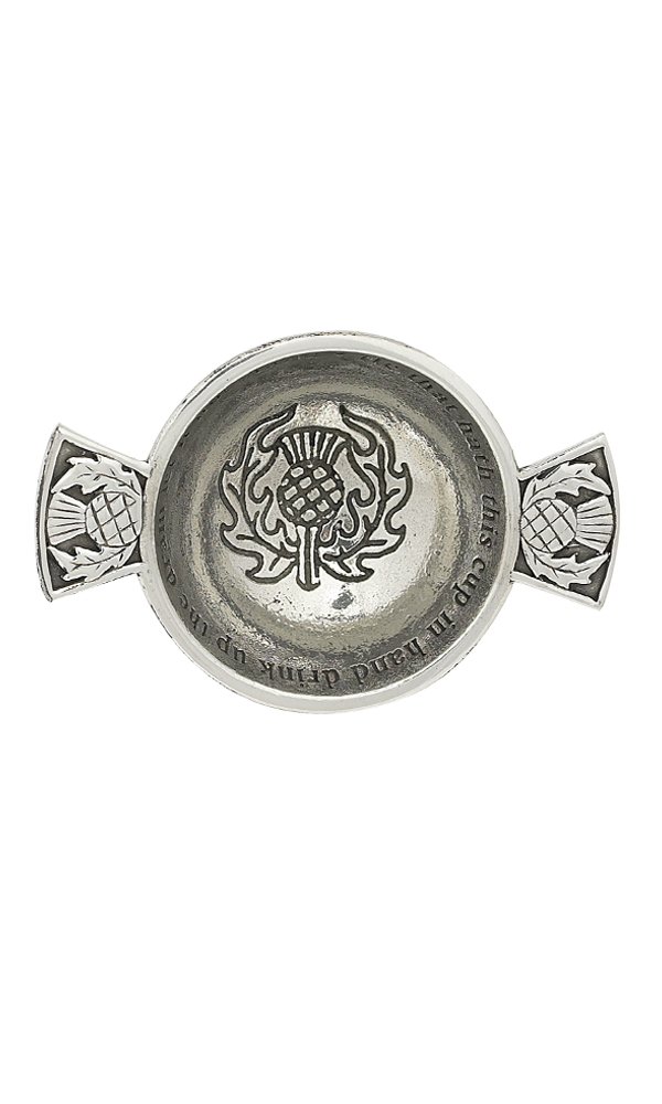 "1.75"" Thistle Mini Pewter Quaich  Thumbnail"