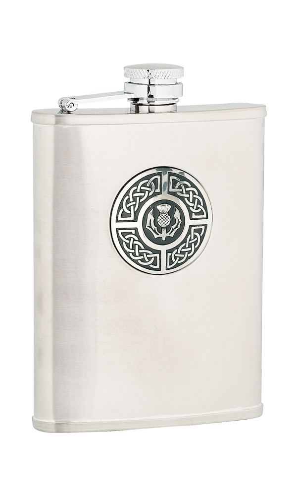 6oz Celtic & Thistle Stainless Steel Flask Thumbnail
