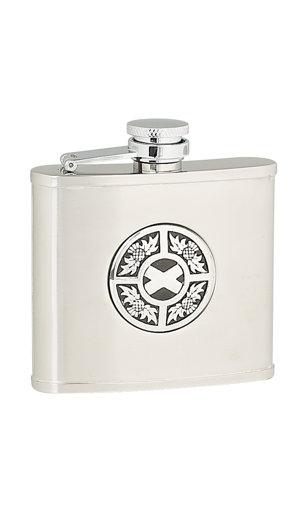 4oz Thistle & Saltire Stainless Steel Flask Thumbnail