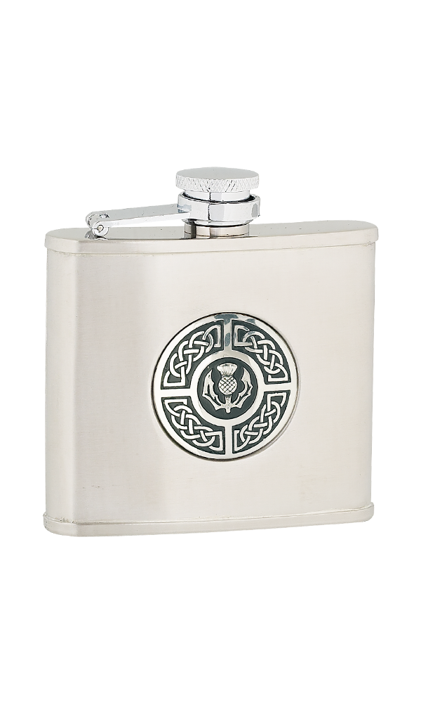 4oz Celtic & Thistle Stainless Steel Flask Thumbnail
