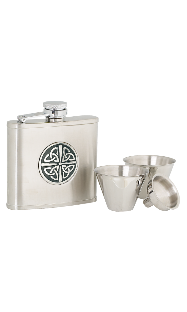 4oz Celtic Knot Stainless Steel Flask Set Thumbnail