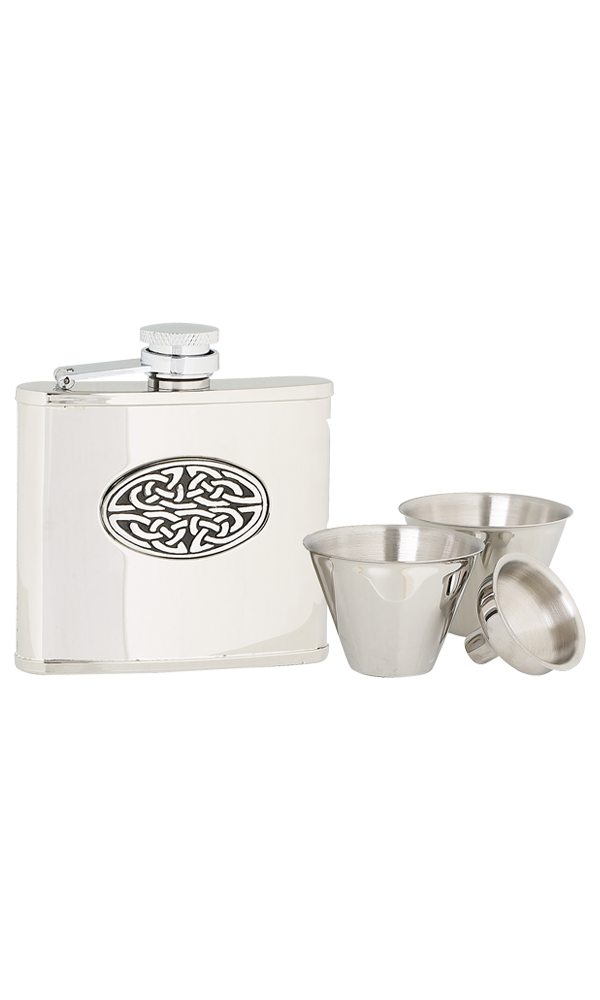 4oz Oval Celtic Stainless Steel Flask Set Thumbnail