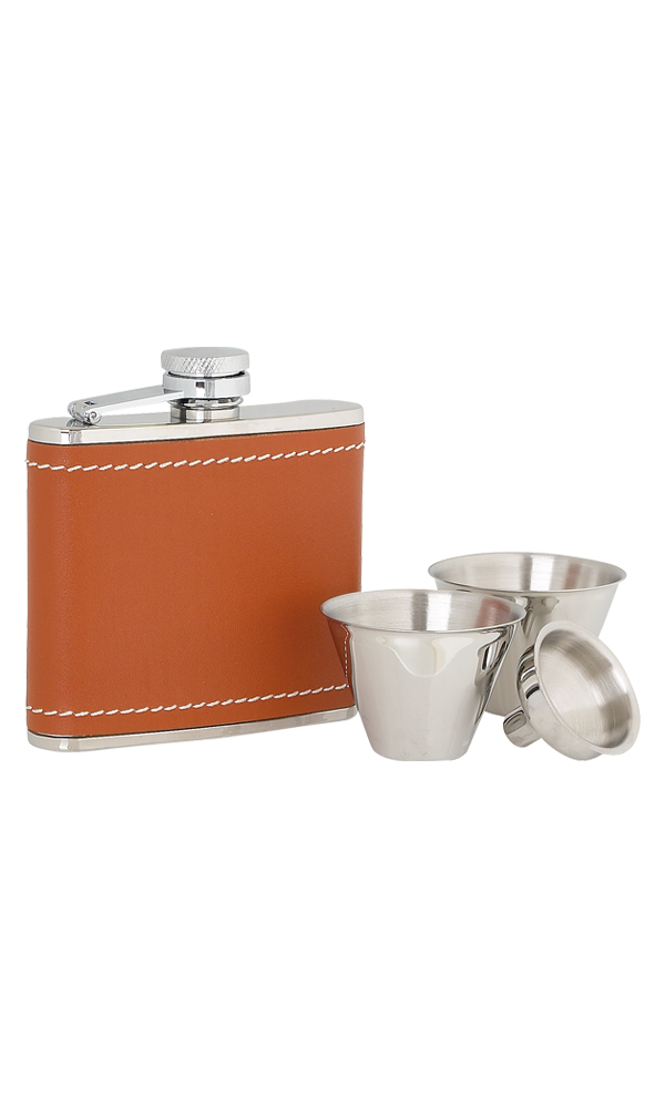 4oz Tan Leather Stainless Steel Flask Set Thumbnail