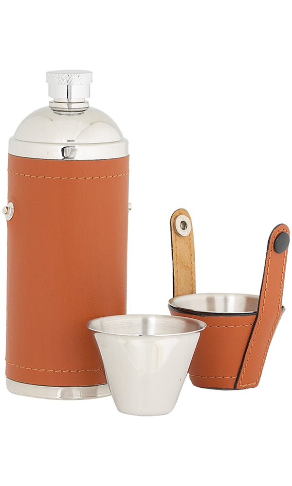 8oz Tan Leather Sportsman Stainless Flask With Cups Thumbnail