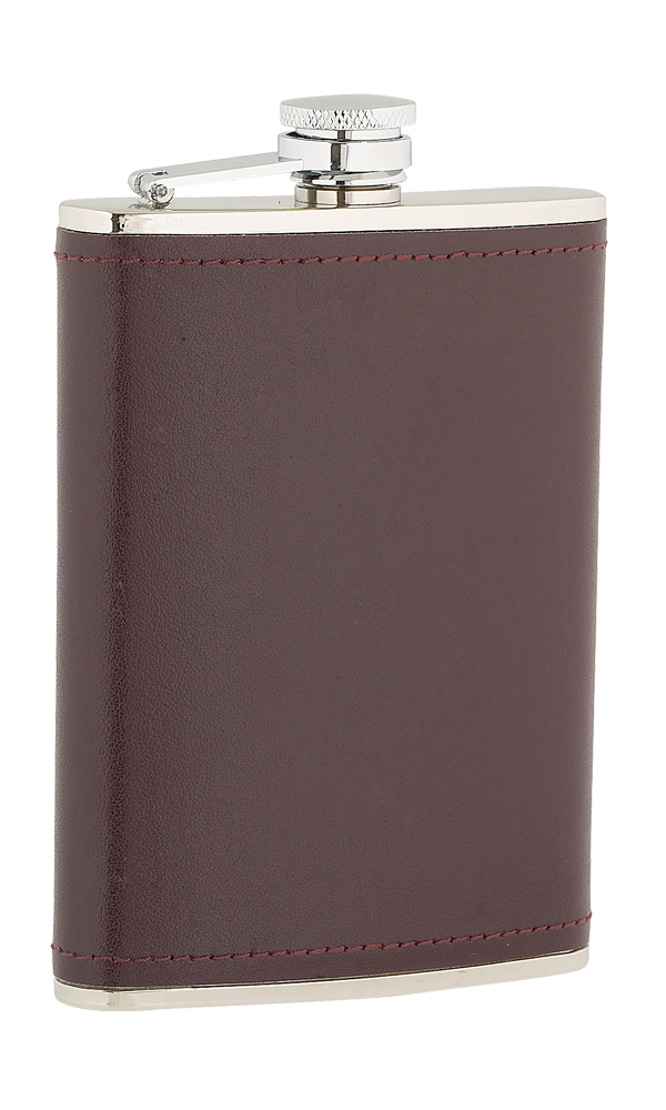 8oz Burgundy Leather Stainless Steel Flask Thumbnail