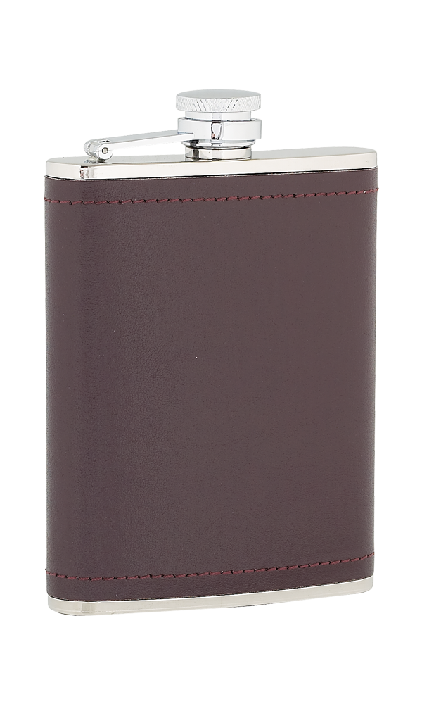 6oz Burgundy Leather Stainless Steel Flask Thumbnail