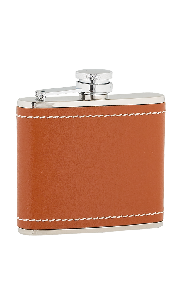 4oz Tan Leather Stainless Steel Flask Thumbnail