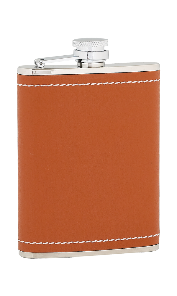 6oz Tan Leather Stainless Steel Flask Thumbnail