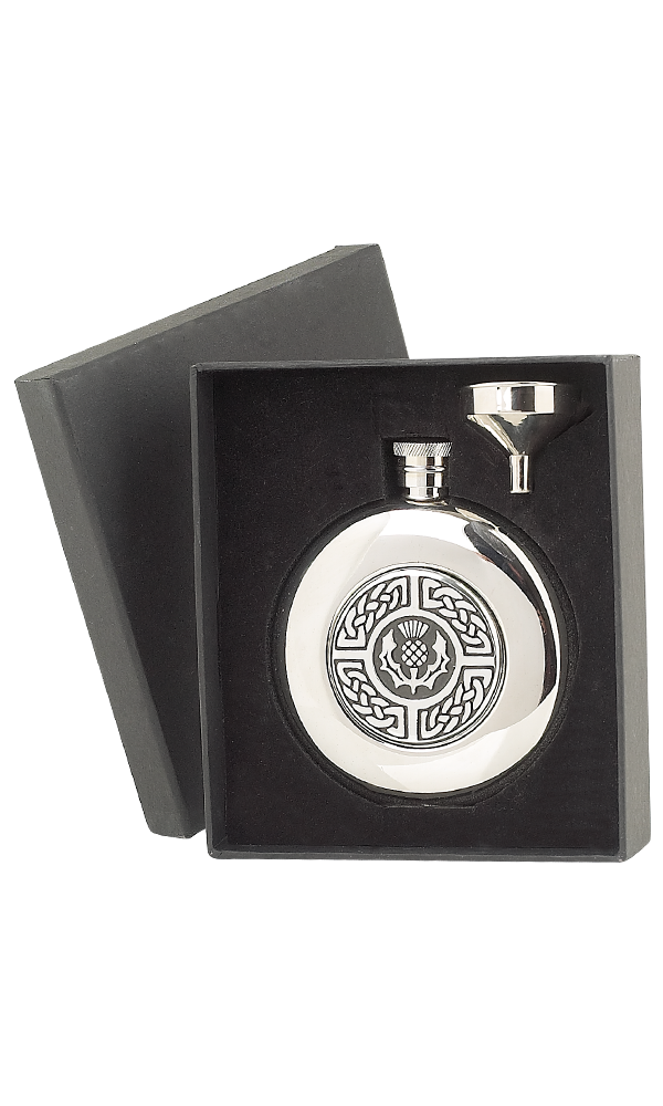 5oz Celtic & Thistle Stainless Steel Flask Thumbnail