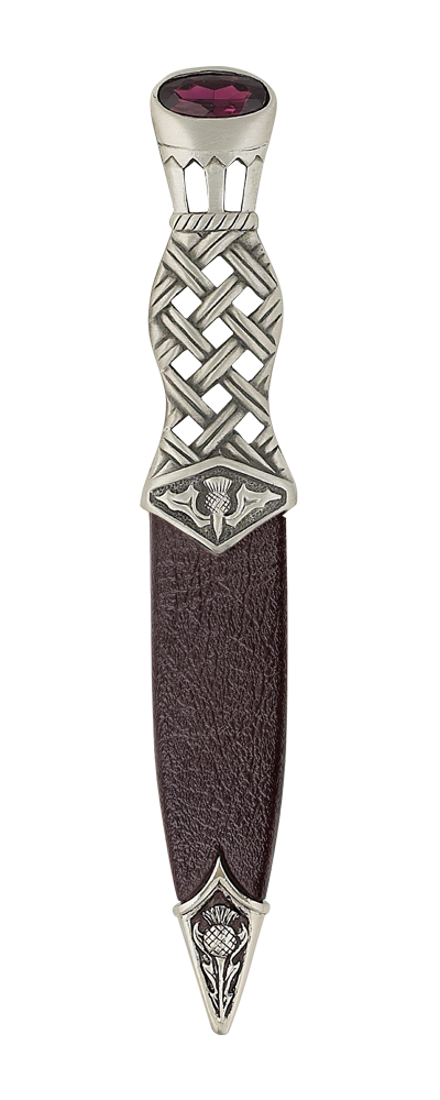 Lochy Matt Pewter Dress Sgian Dubh With Stone Top Thumbnail