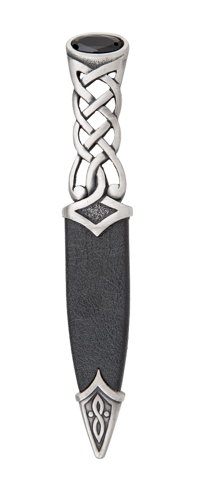 Tay Matt Pewter Dress Sgian Dubh With Stone Top Thumbnail