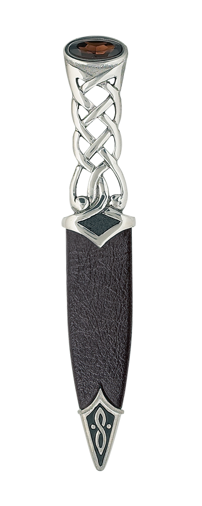 Tay Polished Pewter Sgian Dubh With Stone Top Thumbnail