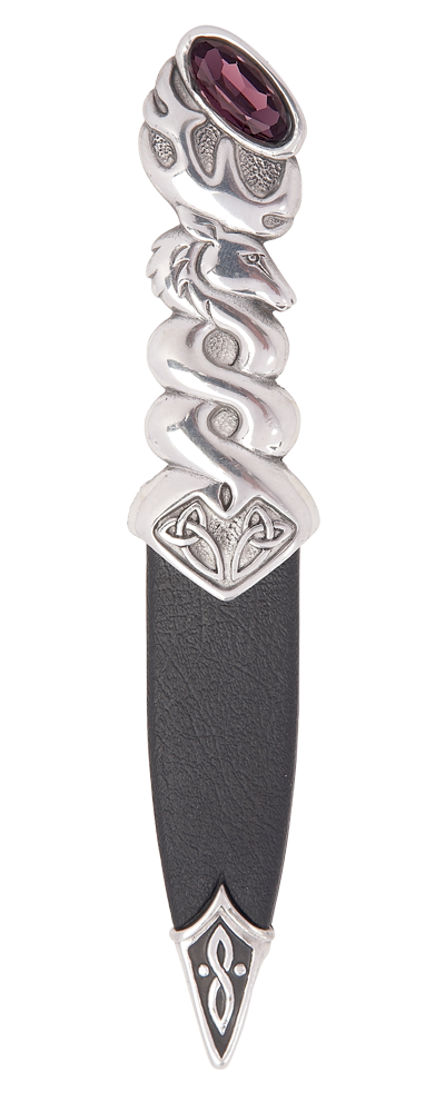 Glenfinnan Polished Pewter Sgian Dubh With Stone Top Thumbnail