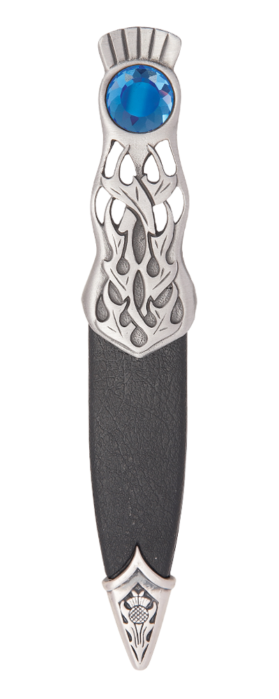 Thurso Matt Pewter Dress Sgian Dubh With Stone Top Thumbnail