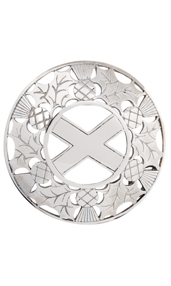 Open Thistle/saltire Plaid Brooch