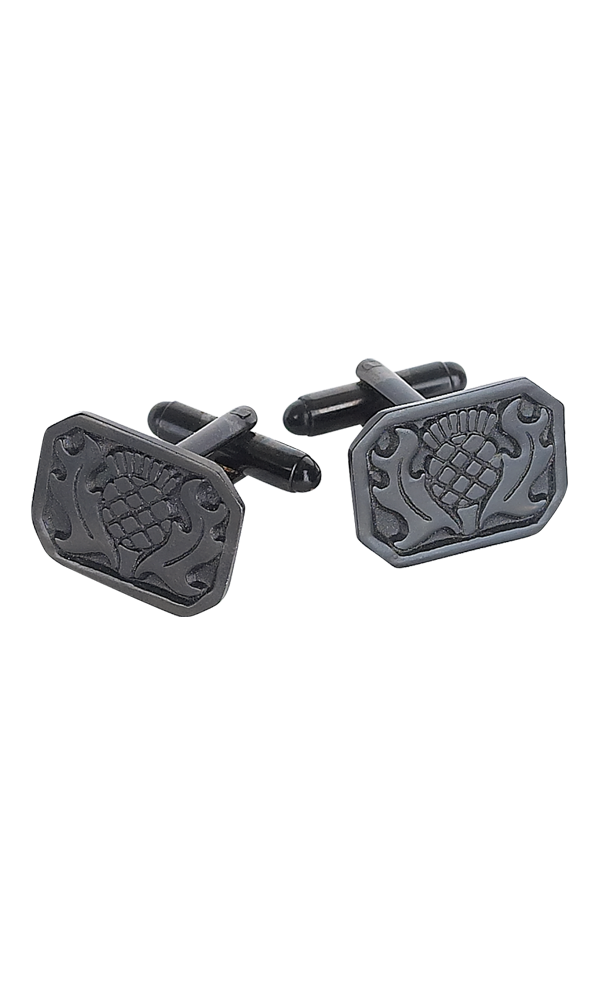 Black Chrome Thistle Cufflinks