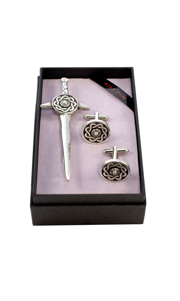 Celtic Targe Kilt Pin & Cufflink Set