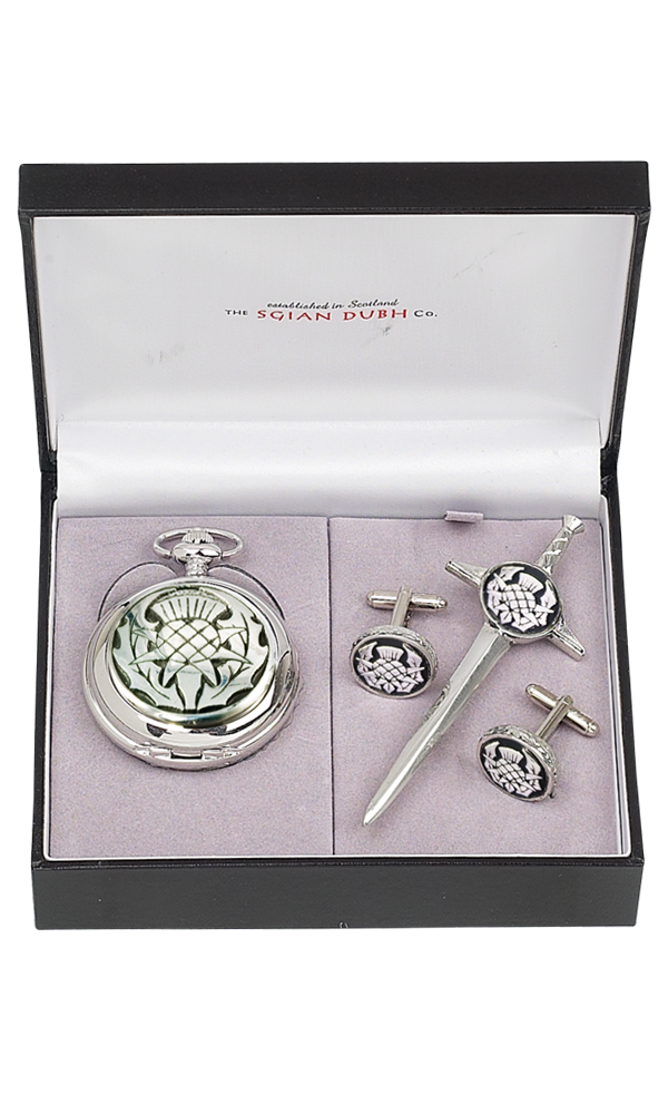 Thistle 3 Piece Mechanical Pocket Watch Gift Set