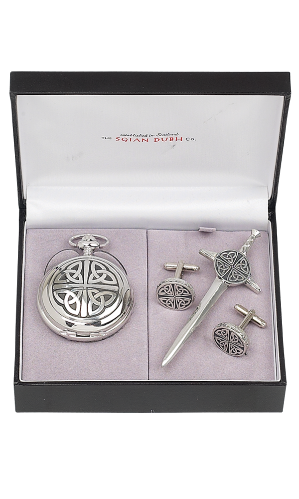 Celtic 3 Piece Quartz Pocket Watch Gift Set