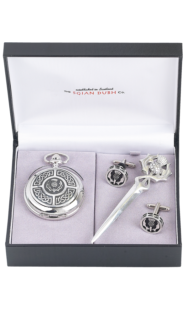 Celtic & Thistle 3 Piece Quartz Pocket Watch Gift Set