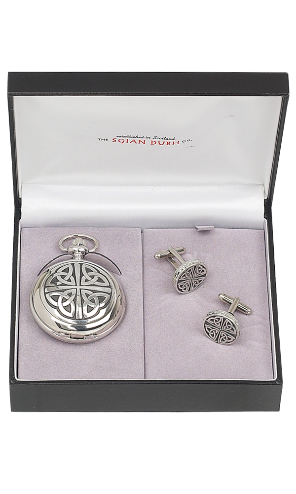 Celtic 2 Piece Mechanical Pocket Watch Gift Set