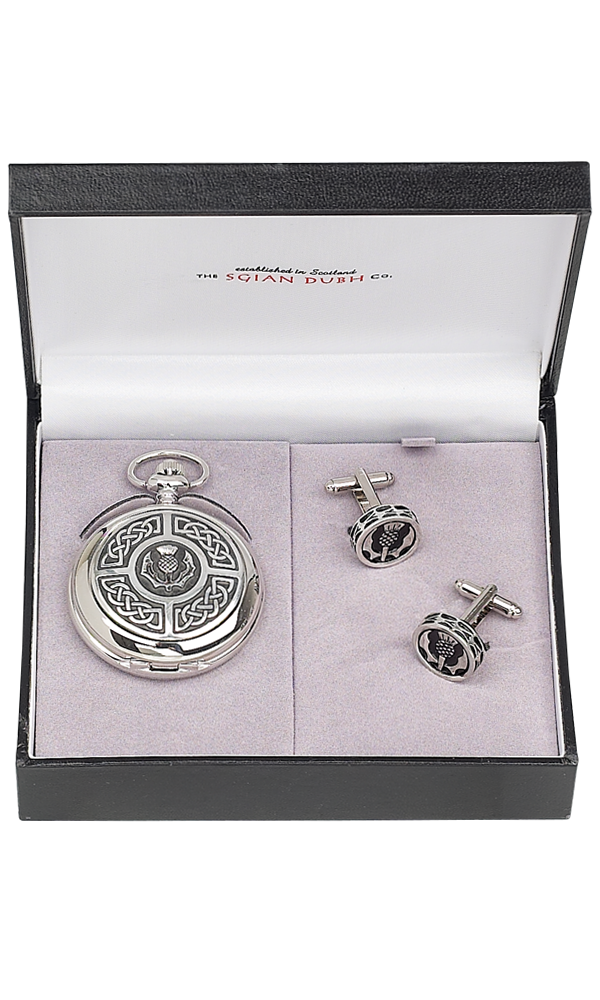 Celtic & Thistle 2 Piece Quartz Pocket Watch Gift Set