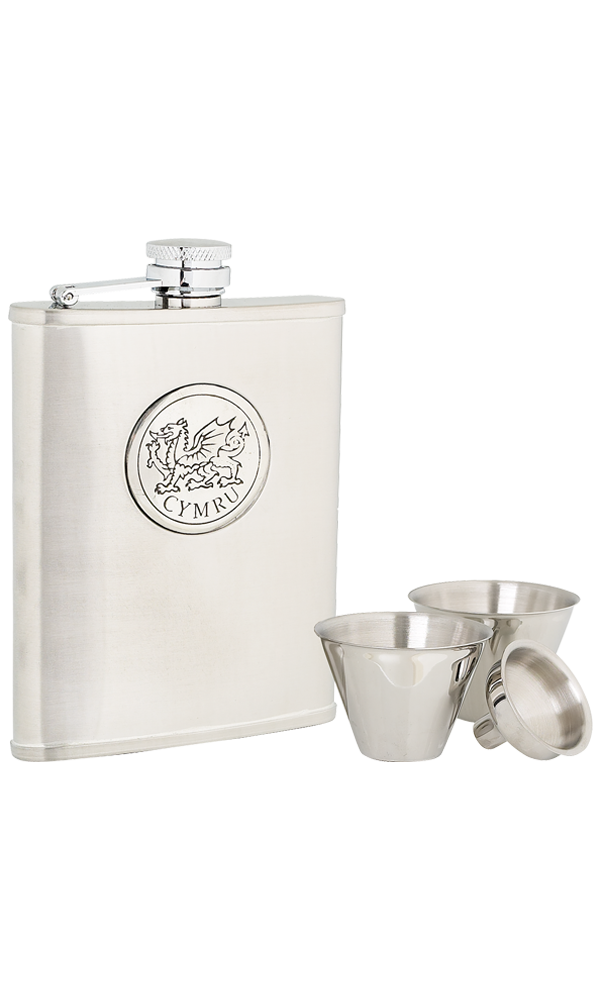6oz Cymru Stainless Steel Flask Set