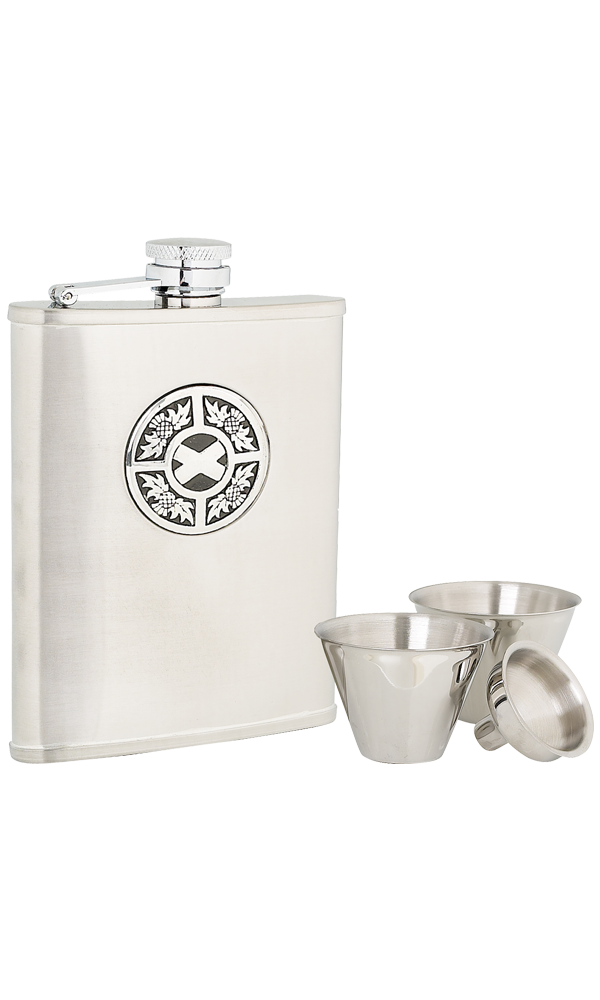 6oz Thistle & Saltire Stainless Steel Flask Set