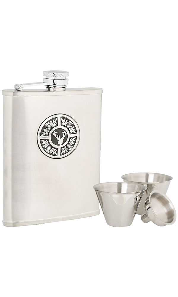 6oz Thistle & Stag Stainless Steel Flask Set