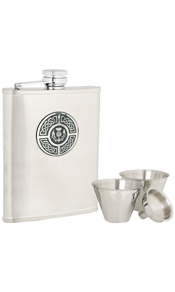6oz Celtic & Thistle Stainless Steel Flask Set