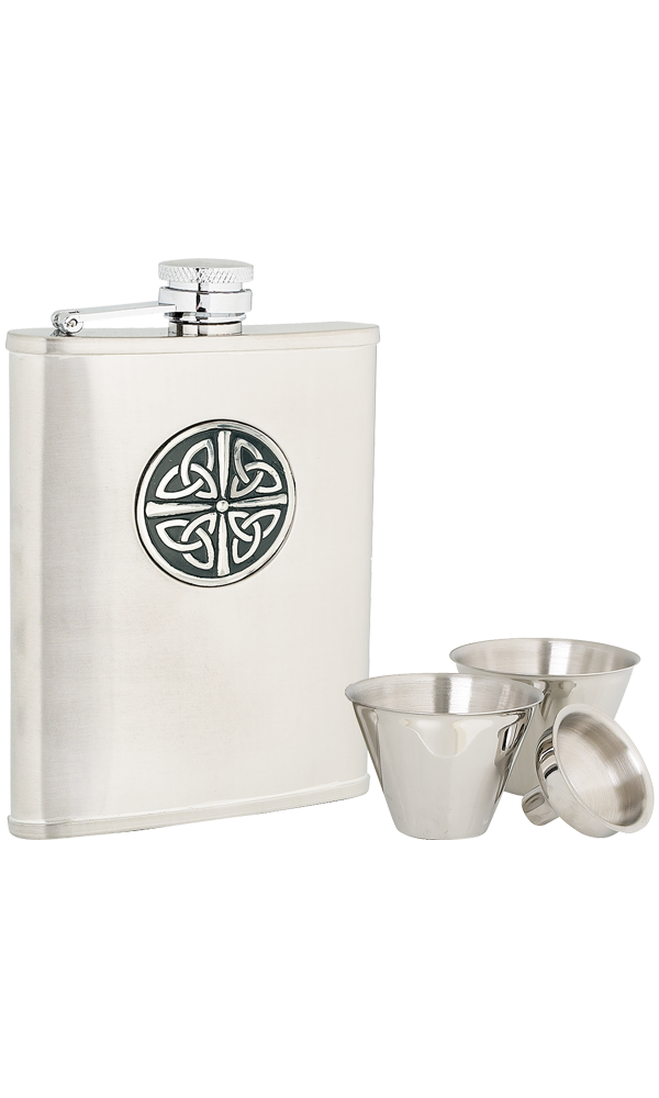 6oz Celtic Knot Stainless Steel Flask Set