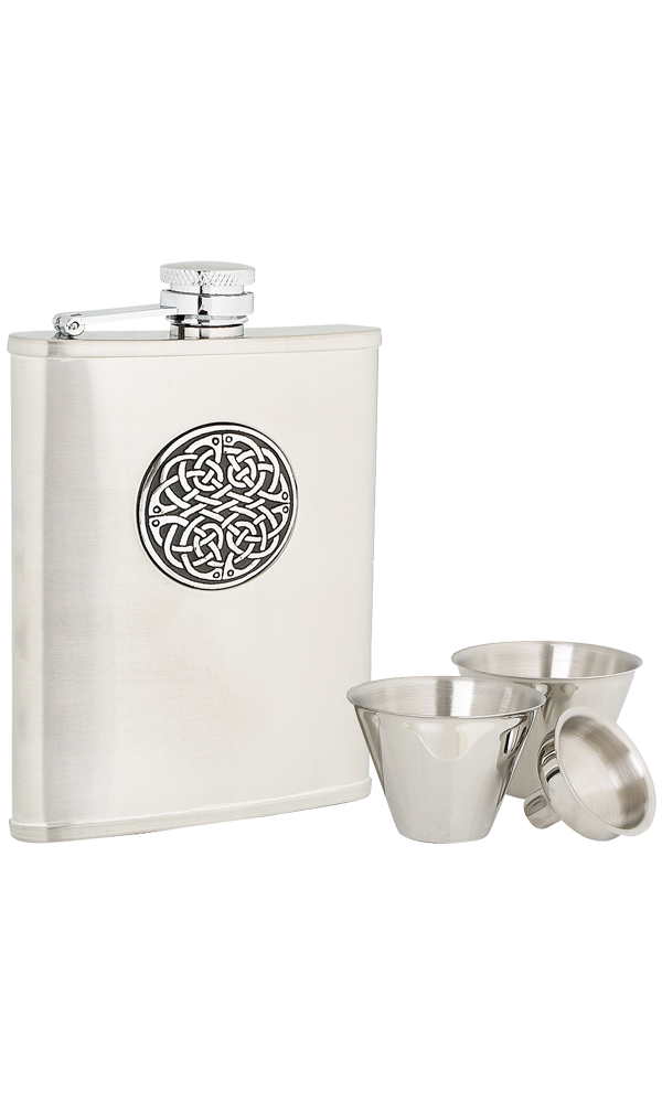 6oz Celtic Weave Stainless Steel Flask Set