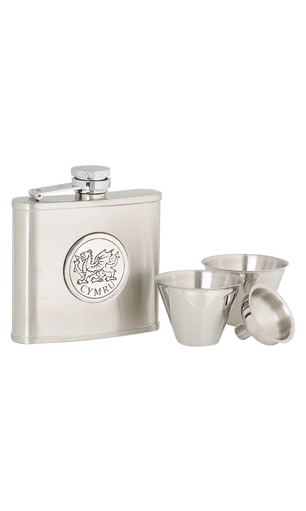 4oz Cymru Stainless Steel Flask Set