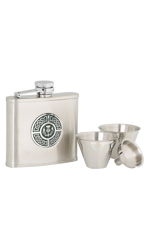 4oz Celtic & Thistle Stainless Steel Flask Set