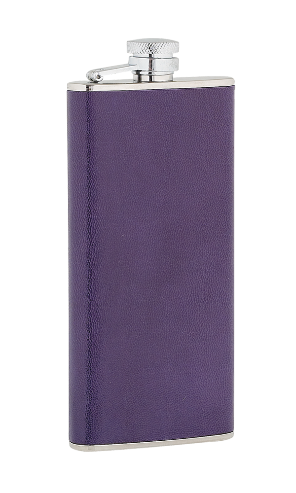 5oz Ladies Purple Leather Stainless Steel Flask