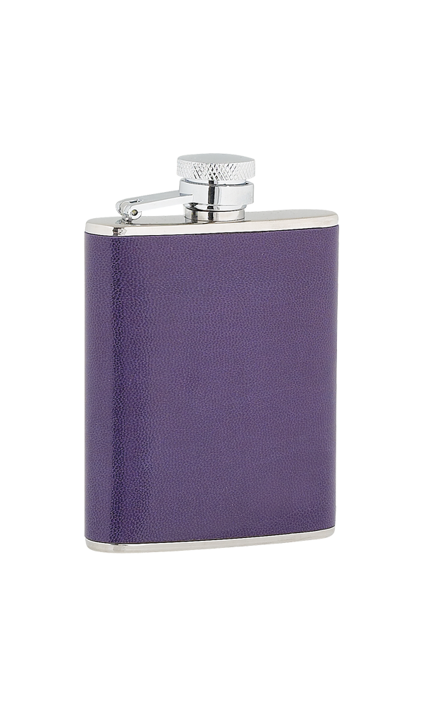 3oz Ladies Purple Leather Stainless Steel Flask