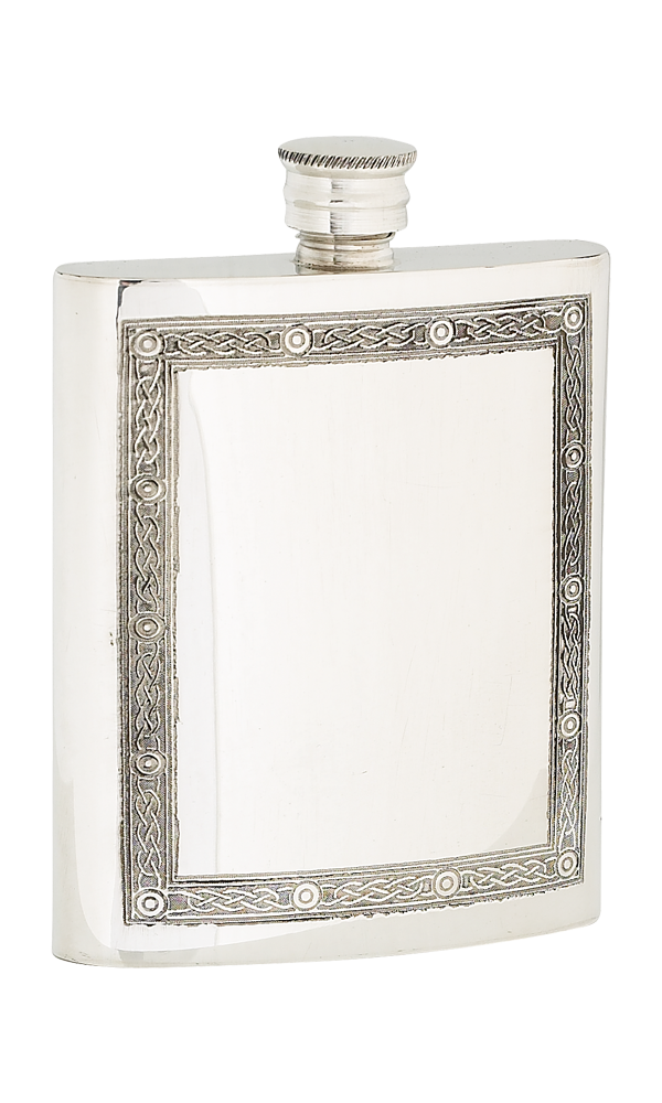 6oz Celtic Frame Pewter Flask