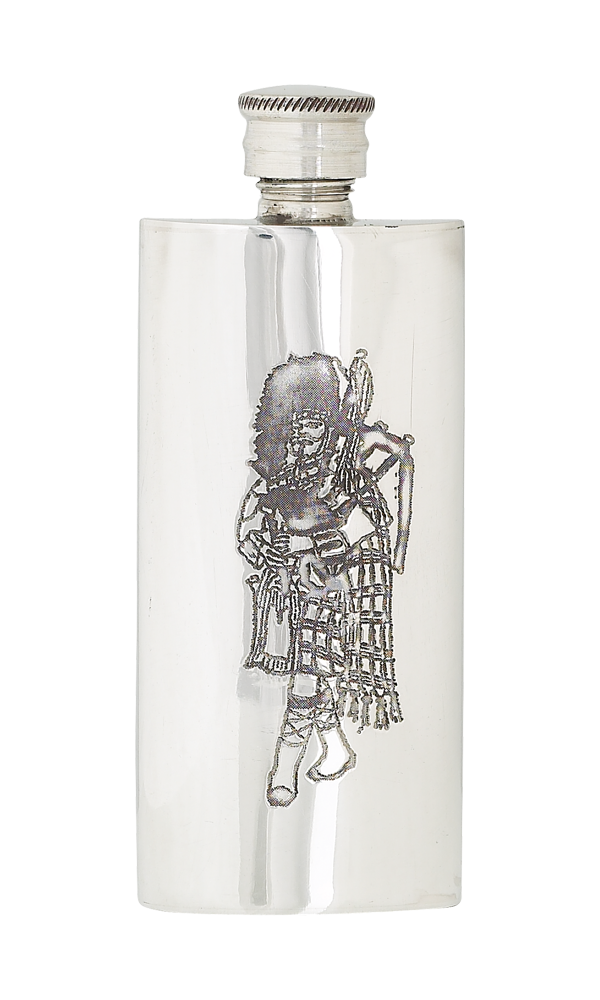4oz Slim Piper Pewter Flask