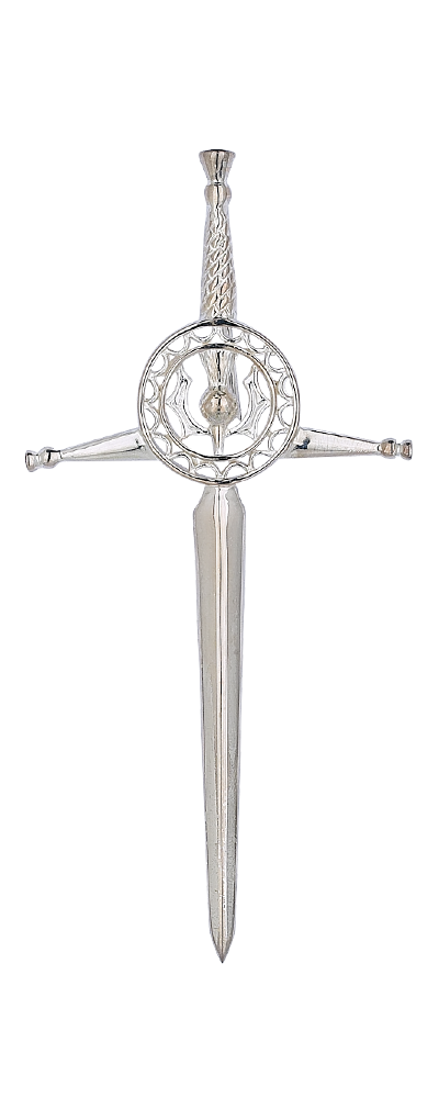 Thistle Circle Silver Kilt Pin