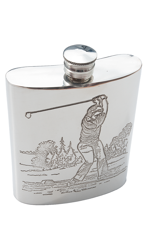 6oz Golfer Pewter Flask