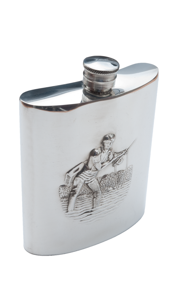6oz Fishing Pewter Flask