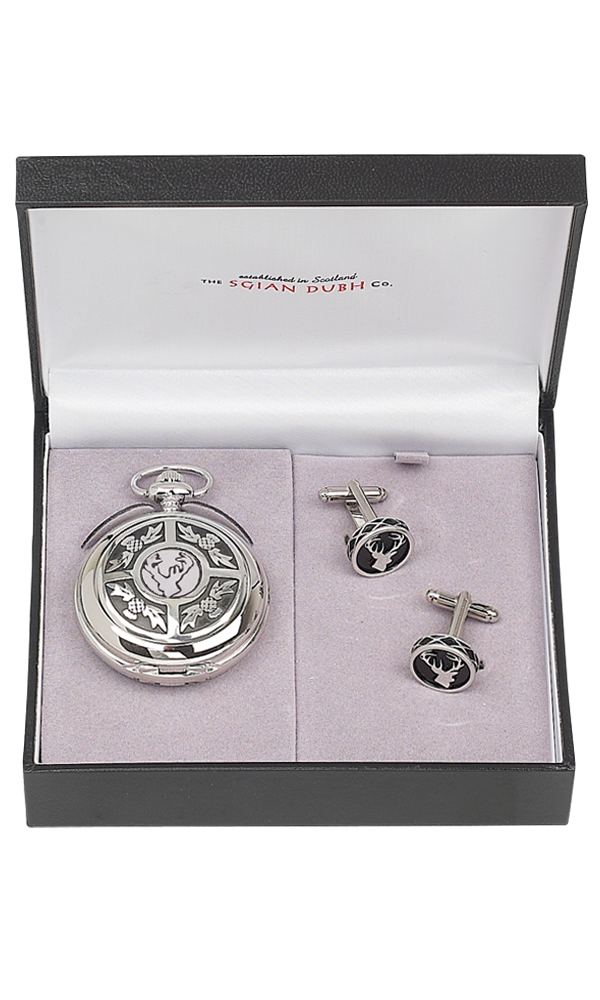 Stag Head 2 Piece Quartz Pocket Watch Gift Set
